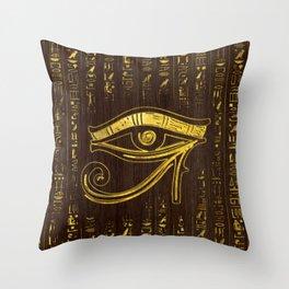 Golden Egyptian Eye of Horus  and hieroglyphics on wood Throw Pillow