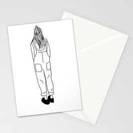 Overalls Girl Illustration Stationery Cards