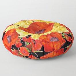 ORANGE POPPIES FLORAL & YELLOW ROSES BLACK ART Floor Pillow