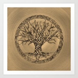 Tree of life -Yggdrasil -Sepia Canvas Art Print