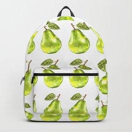 Watercolor Green Pear Zig-Zag Pattern Backpack