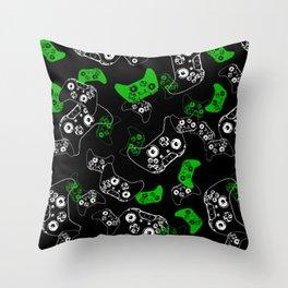 Video Game Black & Green Throw Pillow