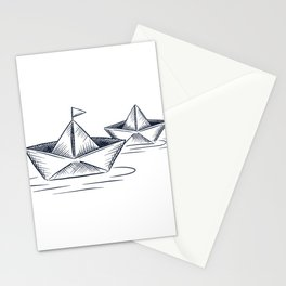 Paper boat on the water Stationery Cards