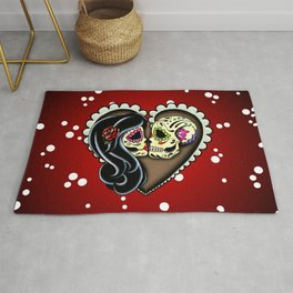 Ashes - Day of the Dead Couple - Kissing Sugar Skull Lovers Rug