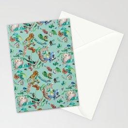 animales fondo verde Stationery Cards