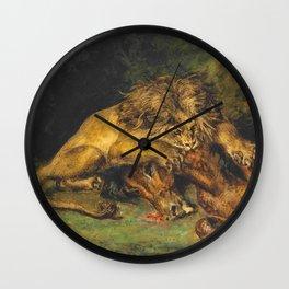 """Eugène Delacroix """"Lion dévorant un cheval"""" Wall Clock"""