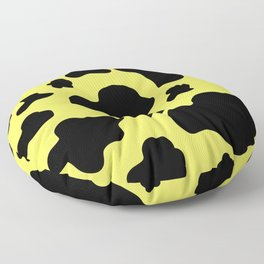 Cow Print Pattern / White / Black / GFTCowPrint002 / Yellow Background  Floor Pillow