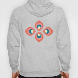 Retroflower - red and blue petals Hoody