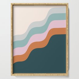 Abstract Diagonal Waves in Teal, Terracotta, and Pink Serving Tray