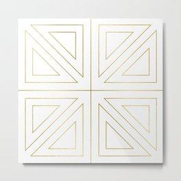 Angled 2 White Gold Metal Print