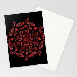 Red hearts mandala Stationery Cards