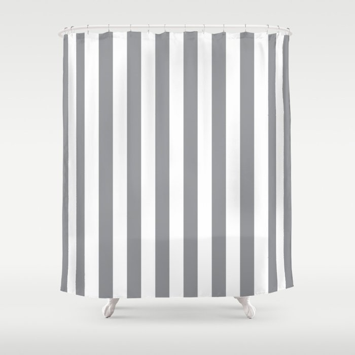 Vertical Grey Stripes Shower Curtain By, Grey Striped Shower Curtain