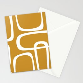 Midcentury Modern Retro Loop Pattern in Mustard Gold and White Stationery Cards