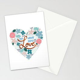 Do What You Love Digital Floral Illustration - White Background  Stationery Cards