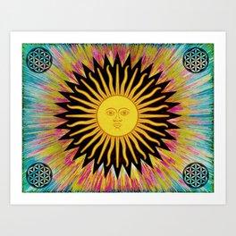 Psychedelic Sun Star Hippie Bohemian Festival Spiritual Zen Yoga Mantra Meditation Kunstdrucke