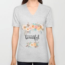 He calls me beautiful one. Song of Solomon 2:10 Unisex V-Neck