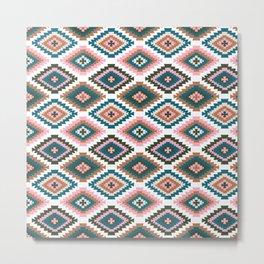 Earthy print - boho, kilim, tile, turkish, turkish rug, earth toned, brown, rust, teal and pink, pink and rust, boho decor Metal Print