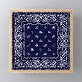 Bandana - Navy Blue - Southwestern - Paisley  Framed Mini Art Print