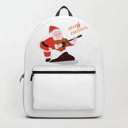 Santa Claus playing folk guitar with Merry Christmas text Backpack