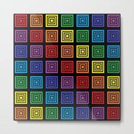 Rainbow Squared Black Metal Print