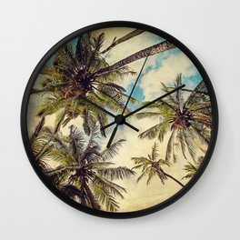 Vintage Blue Hawaii Palm Trees Wall Clock