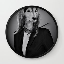 TPS Report Dog-gone Blues Black and White Photographic Print Wall Clock