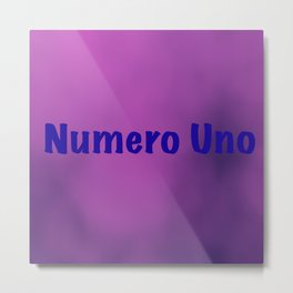 """Numero Uno"" text on a light purple abstract background design Metal Print"