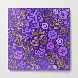 OM symbol pattern - purples and gold Metal Print