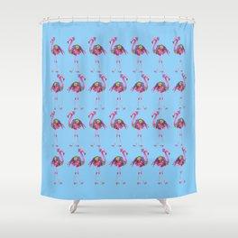 Fancy Felicity Flamingo (Blue) Shower Curtain