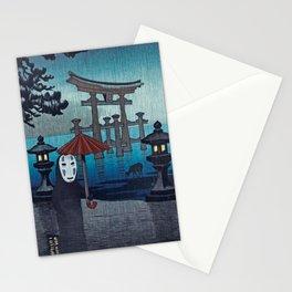 No face Kaonashi vintage japanese mashup Stationery Cards