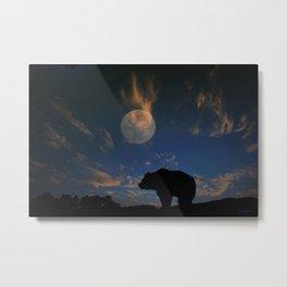 Bear and Moon Metal Print