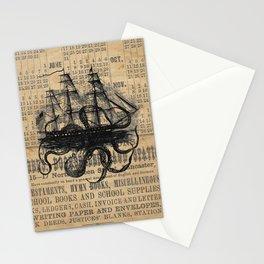 Octopus Kraken attacking Ship Antique Almanac Paper Stationery Cards