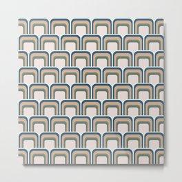 Retro Muted Jewel Tone Geometric Rectangles in Pink, Green, Blue, Yellow Metal Print