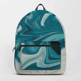 White & Teal Abstract Art Painting Backpack
