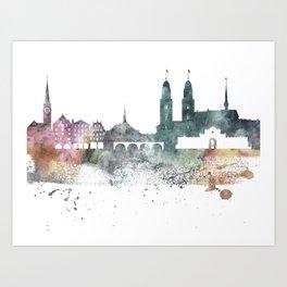 Zurich Nature Pastels Skyline Art Print