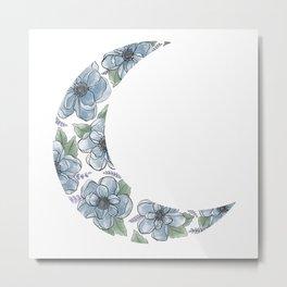 Floral Crescent Moon Blue Metal Print