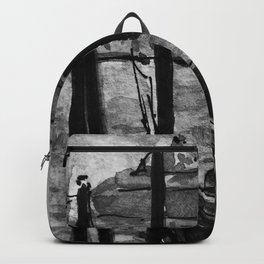 Venice Gondola at Sunset Black and White Watercolor Painting Backpack