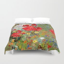 Red Geraniums in Spring Garden Landscape Painting Duvet Cover
