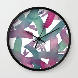Summer Popsicle Pattern Turquoise Opera Rose Watercolour Wall Clock