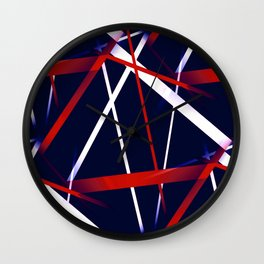 Seamless Red and White Stripes on A Blue Background Wall Clock