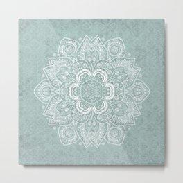 Mandala Temptation in Rustic Sage Color Metal Print