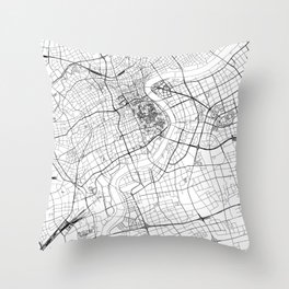 Shanghai White Map Throw Pillow