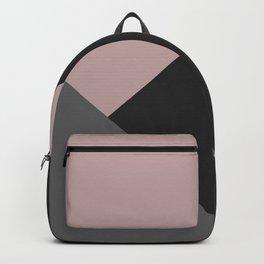 Dusty Blush meets Charcoal & Gray Geometric #1 #minimal #decor #art #society6 Backpack