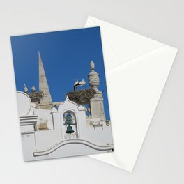 storks build nests on the church in the old town of faro, portugal, europe Stationery Cards