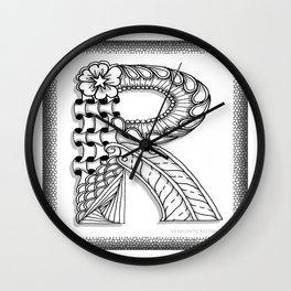Zentangle R Monogram Alphabet Illustration Wall Clock