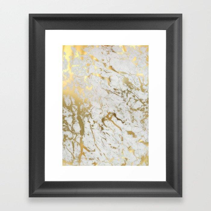 Gold marble Gerahmter Kunstdruck
