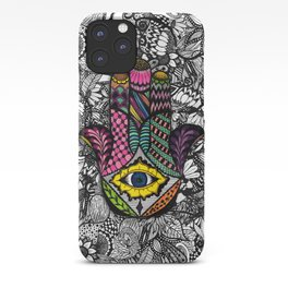 Colorful Hand Drawn Hamsa Hand an Floral Drawings iPhone Case