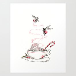 Peppemint Bumble Bees Art Print