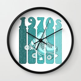 70s Roller Skates Derby Gift - Mint Green & Turquoise Wall Clock