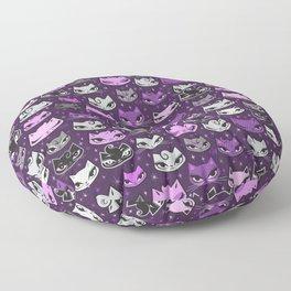 Purple Rockabilly Cats Floor Pillow